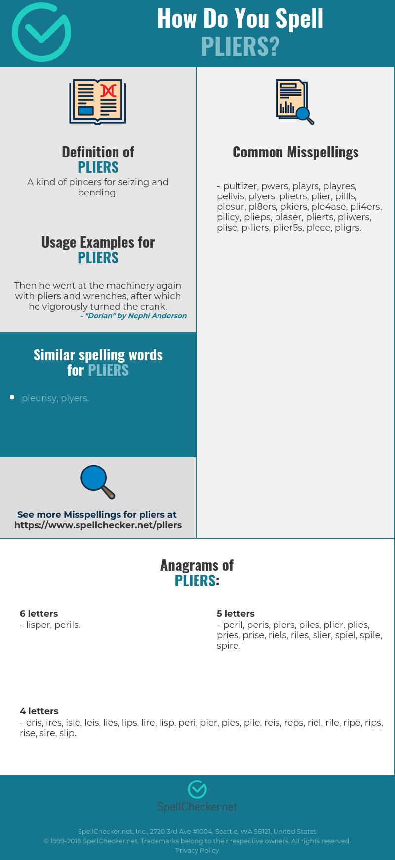 Correct spelling for pliers [Infographic] | Spellchecker net
