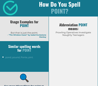 Correct spelling for point