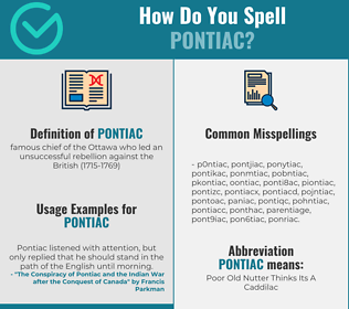 Correct spelling for pontiac