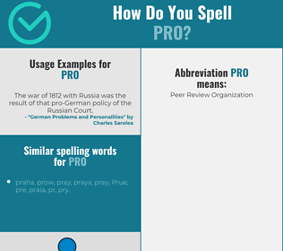 Correct spelling for pro