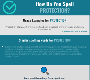 Correct spelling for protection