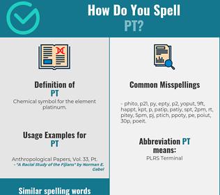 Correct spelling for pt