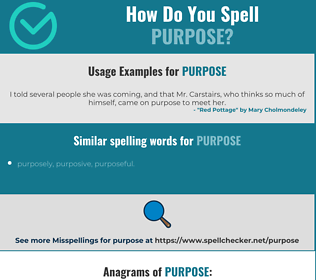 Correct spelling for purpose