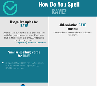 Correct spelling for rave