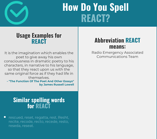 Correct spelling for react