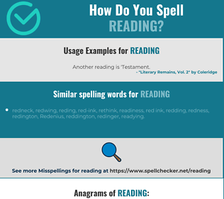 Correct spelling for reading