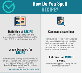 Correct spelling for recipe