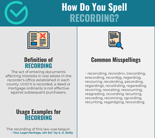Correct spelling for recording