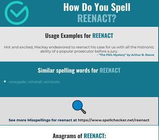 Correct Spelling For Reenact Spellcheckernet