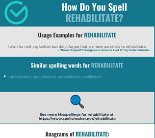 Correct spelling for rehabilitate