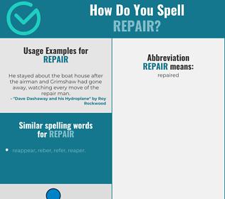 Correct spelling for repair