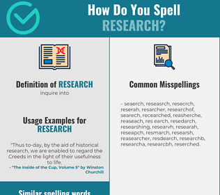 Correct spelling for research