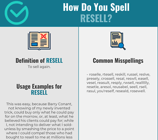 Correct spelling for resell