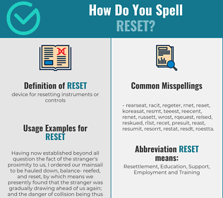 Correct spelling for reset