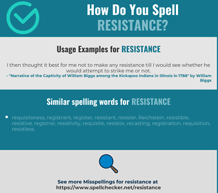 Correct spelling for resistance