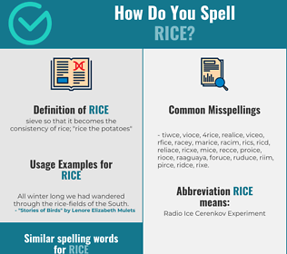 Correct spelling for rice