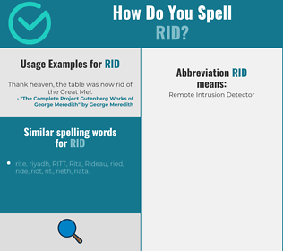 Correct spelling for rid