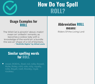 Correct spelling for roll