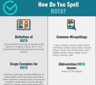 Correct spelling for rota