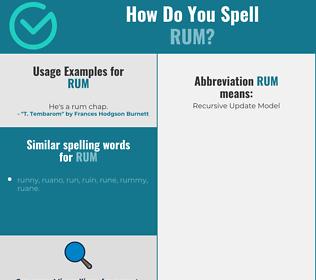 Correct spelling for rum