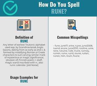 Correct spelling for rune