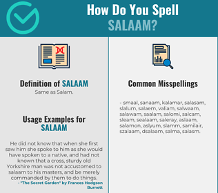 Correct spelling for salaam