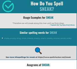 Correct spelling for sneak