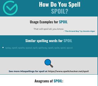 Correct spelling for spoil