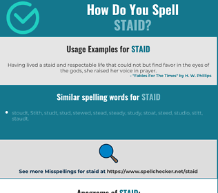 Correct spelling for staid