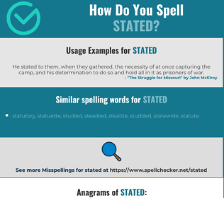 Correct spelling for stated