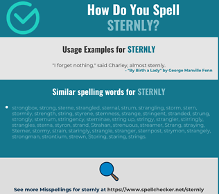 Correct spelling for sternly