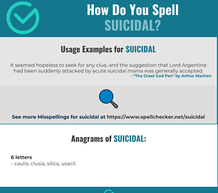 Correct spelling for suicidal