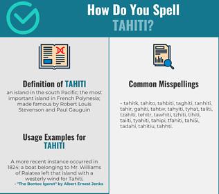 Correct spelling for tahiti