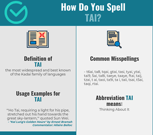Correct spelling for tai