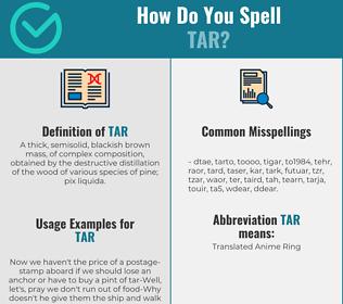 Correct spelling for tar