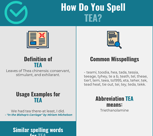 Correct spelling for tea