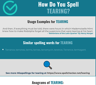 Correct spelling for tearing