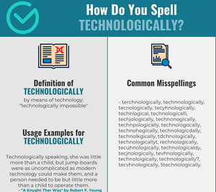 Correct spelling for technologically