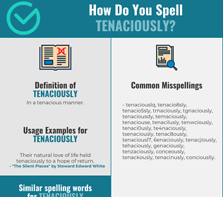 Correct spelling for tenaciously