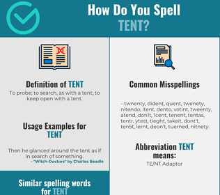 Correct spelling for tent