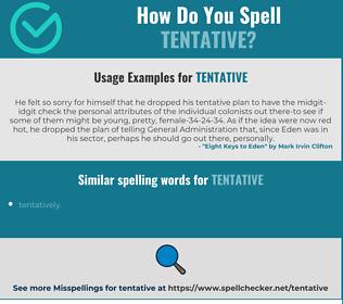 Correct spelling for tentative