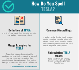 Correct spelling for tesla