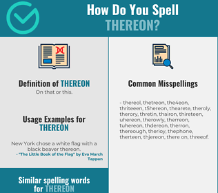 Correct spelling for thereon