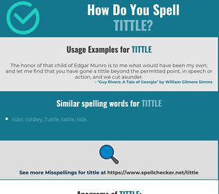 Correct spelling for tittle