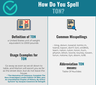 Correct spelling for ton