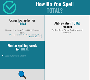 Correct spelling for total