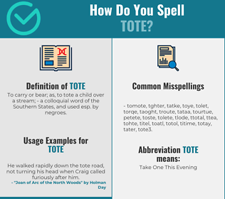 Correct spelling for tote