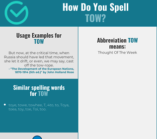 Correct spelling for tow