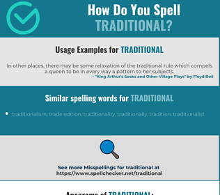 Correct spelling for traditional
