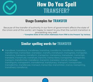 Correct spelling for transfer